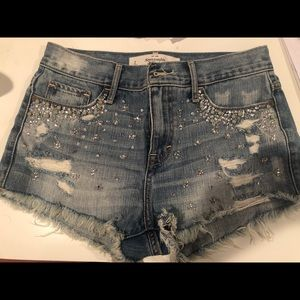 Light Denim Beaded Ripped Shorts by Abercrombie